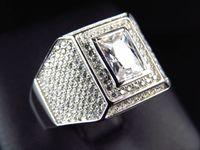 emerald cut diamonds - Mens Simulated Lab Diamond Stylish Emerald Cut Solitaire in ring White Finish