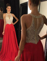 Wholesale Long Prom Dresses Jewel Sleeveless Zipper Sweep Train Chiffon with Crystal Beading A line Formal Gowns Long Evening Dresses
