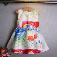 Wholesale Children Flower Dress High Quality Dresses Girls Party Baby Summer Print Dresses Girls Lace Skirt Big Size CM CM