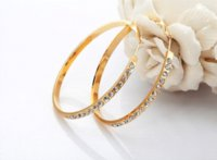 Cheap Innovative Items 2014 Big Round Hoop Earrings18K Gold Plated Rhinestone Earrings Jewelry For Women Wholesale E455