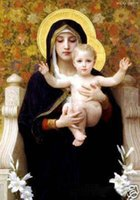 Wholesale VIRGIN MARY AND BABY Pure Handpainted Figure Portrait Art Oil Painting On Quality Canvas In Mulit Sizes Framed P0038