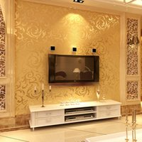 Wholesale Gold wallpapers D Wall Murals European Acanthus Non woven Wall Paper Flower Bedroom Wallpaper for Walls Grey papel de parede para quarto