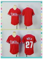 baseball products - New Product Youth Kids Philadelphia Phillies Baseball Jersey Blank Aaron Nola Red Stitched Jerseys