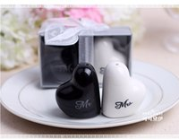 Wholesale 2016 hot Heart Shaped quot Mr Ms quot Salt And Pepper Shaker Wedding Favors Gifts For Guest DHL or fedex Sets
