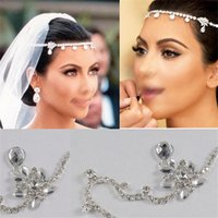 agate pieces jewelry - Bridal Jewelry Crystal Forehead Drape Head Piece Hair Chain Wedding Celebrity