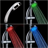 Wholesale A LED Chuveiro Shower Head Sprinkler Automatic Control RGB Changing Ducha Rain Showers Heads Base Power Hotels Douche