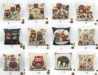 Wholesale Soft Pillow Plush Cushion Vintage Cotton Owl Linen Pillow Case Sofa Waist Throw Cushion Cover Home Decor Cushion Party Supplies