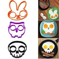 Wholesale kitchen cooking tool unique design Silicone Rubber egg mold Non stick Skull Rabbit owl Eggs Fried Frying Mould Pancake Egg Ring Shaper Mold