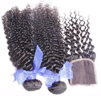 Wholesale A Grade malaysian Kinky Curly Hair Hair Bundles With Lace Closure Unprocessed Human Hair Weave Extensions