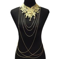 belly necklaces - Lace Flower Necklaces Pendants Women Gold Body Chain Necklace Big Collares Chokers Body Chains Luxury Gothic Jewelry Colar