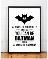 Wholesale Batman Quote Canvas Art Spray Painting Wall Pictures for Home Decoration Frame not include Support DIY plans to customize