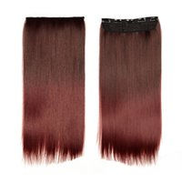 Wholesale High Quality Clip On Hair Extention quot cm g Color Burgundy Cosplay Hair Full Head Clip In Synthetic Hair