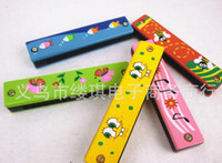 Wholesale Colorful Educational Musical Wooden Painted Harmonica Instrument Toy for Kids Children Gift Randomly Kid high quality