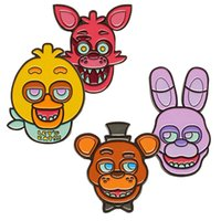 barneys gifts - Prettybaby Five Nights At Freddy s figure face brooches Barney Chica Foxy Freddy FNAF oil dripping Brooch Pins Pt0394 la