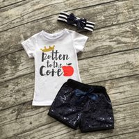 apple brand clothing - 2016 new apple summer girls boutique crown clothing black Sequins quot rotten to the core quot shorts outfit with matching bow set