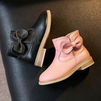 Wholesale 2016 Autumn Winter Girl Leather Shoes Korean Girl Dermis Bownot Princess Leather Boots Baby Half Boots