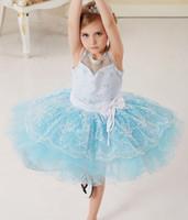 ballet dance pictures - Exquisite lace flower ballet dance dress seven layers softer lighter girls dresses two colors pink blue