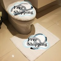 acrylic toilet seats - 3pcs set White English Letters Logo Flocking Toilet Seat Cover Set Toilet Ring Closestool Mat Machine Overcoat Toilet Case