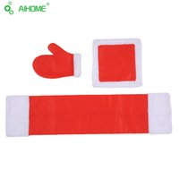 Wholesale 3pcs set Christmas Decoration Oven Gloves Napkin Placemat Set Christmas Ornament Table Kitchen Set For Xmas Supplies lt no tracking