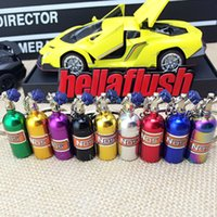 Wholesale Creative Car Modification Nitrous System NOS Bottle Keychain Metal Key Chain Ring Pill Box Storage Keychains