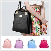 arrival animal skins - New arrival wave of women s doubles shoulder bag student fashion women style bright skin crocodile backpack vertical section BAG138