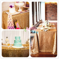 Wholesale JS by Inch GOLD Sequin Tablecloth Wedding Beautiful Sequin Table Cloth Overlay Cover Christmas Party Decor