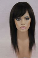 Wholesale New Fashion natural Color Indian Human Hair Silky Straight Lace Front wig human hair wigs with hair bangs soft and comfortable
