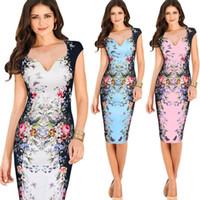 Wholesale Summer Women Sleeveless Office Dresses Ladies Vintage V neck Printed Floral Pencil Bodycon OL Work Dress S XL D6061