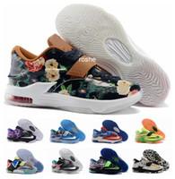 Hombres zapatos nuevos estilos Baratos-Nuevos zapatos de baloncesto de Kevin Durant KD 7 del estilo para los hombres, zapatillas de deporte atléticas Eur 40-46 del mejor precio KD7 del mejor precio de la manera Envío libre