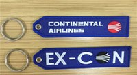 airline continental - Continental Airlines Ex Con Fabric Embroidered Key Tags x cm