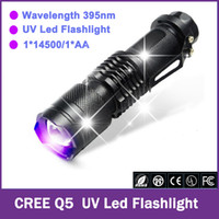 Wholesale CREE Q5 LED UV Flashlight Purple Violet Light Mini Zoomable Lights UV nm Lamp Shock Resistant AA