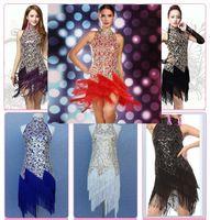 al por mayor vestidos de salsa-Nueva llegada de la moda de las mujeres 6Colors niñas Señora de la lentejuela de la franja de la danza de los trajes del vestido de la salsa del salón de baile latino de la franja vestidos para las mujeres