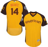 american city names - 2016 Baseball All Star Kansas City Royals Omar Infante American Yellow Flexbase Jerseys Stitched Name And Number