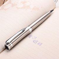 Precio de Bolígrafo de giro-Acero inoxidable clásico plumín media metal plateado de la torcedura del bolígrafo de tinta Negro 0,5 mm para la oficina de negocios de la firma