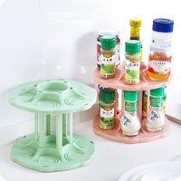 beverage flavoring - Creative Rotary beverage cans double storage rack Organizer seasoning bottle shelf Drink Can stand Holder home storage