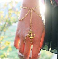 anchor finger - bracelets Gold Plated Charm Bracelets Women New Fashion Vintage Anchor Tassel Finger Combined Alloy Chains Bracelets BR387