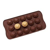 Wholesale 2 Emoji Emotion Cake Mold Smiley Chocolate Candy Baking Mould Ice Cube Tray cavity Random Color