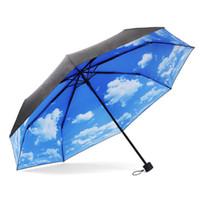 Wholesale The Super Anti uv Sun Protection Umbrella fold umbrella rain or shine blue sky vinyl folding umbrella for Women Men