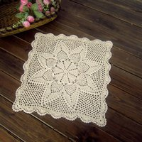 Wholesale Hand crochet pattern square coffee table topper nightstand cover cabinet cover for home decor vintage square table cover home decor