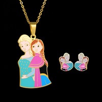 Wholesale Set Earrings Necklace Price - Hot Cartoon Movie Anna and Elsa Princess Jewelry Set Stainless Steel Necklace Earrings Set Wholesale price