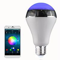 Wholesale Smart LED Light Bulb Wireless Bluetooth Audio Speakers W E27 LED RGB Light Music Bulb Lamp Color Changing via WiFi App Control Free Shippin