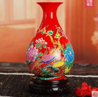 Wholesale 05 China jingdezhen ceramics the colour red vase lotus home handicraft furnishing articles