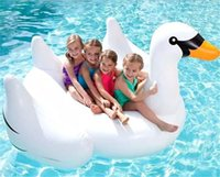 Wholesale 1 M M Giant Swan Inflatable Flamingo Float New Swan Inflatable Floats Swimming Ring Raft swimming pool toys For Kids And Adult DHL free
