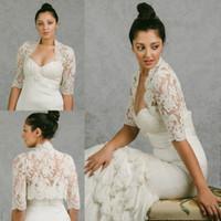 bolero jacket wedding dress - 2016 Vintage Bridal Wraps Half Sleeves Bridal Coat Lace Jackets Wedding Capes Wraps Bolero Jacket Wedding Dress Wraps Plus Size