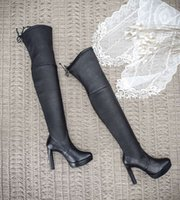 Wholesale Silk Material Flowers - High end thigh boot bootleg all genuine leather real silk inside topest material same as original 1:1shoppe copy so soft comfortable luxury