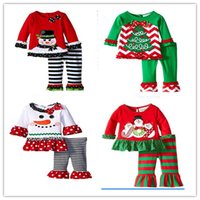baby wear brands - 2016 baby Christmas outfit girls deer christmas tree t shirt ruffle pants sets children polka dot tops kids spring fall wear outfit