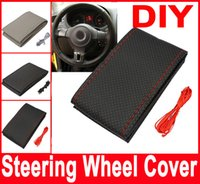 Wholesale Car Steering Wheel Cover DIY With Needles and Thread Artificial leather Gray Black Hot New