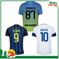 Wholesale 16 Inter home away jersey CANDREVA EDER ICARDI JOVETIC Milan Kondogbia Jovetic Icardi shirts football sports customize