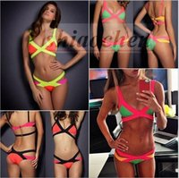 bandeau bikini top xs - Women Thong Bandeau Bikini Push up padded Bikinis Triangle Swimwear Fashion Swimsuit Sexy Bath Suit Beachwear Bra Briefs Top Bottom A649