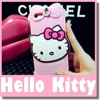 big bumpers - Lovely Hello Kitty Cute KT Big Diamond Soft Silicone D Animal Cartoon Bumper Case Cover for iphone Plus Hellokitty Rubber Cases